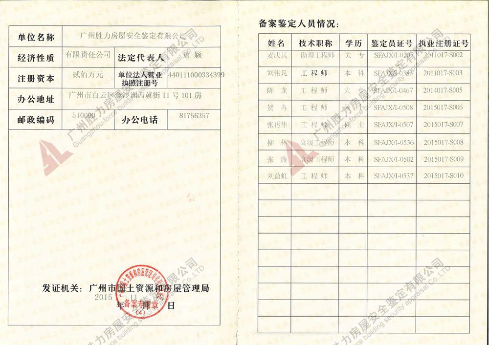 房屋鑒定資質證書-房屋檢測機構-房屋質量鑒定資質-勝